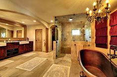 Master Bath...not sure about the copper tub but I LOVE everything else!  And the space is phenomenal!