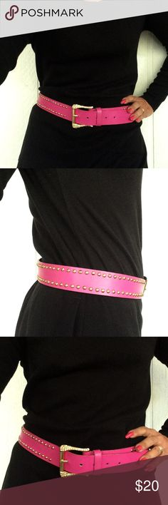 """XOXO HOT PINK RHINESTONE BELT EUC XOXO Hot fuscia pink studs and rhinestone bling belt. Manmade materials. Goldtone studs line this belt. Super bling gold tone buckle. No missing stones. A few dings and dents but overall fabulous condition. Length of belt tip to tip 42"""". Holes at approximately 34"""" 35"""" 36"""" 37"""" 38"""". Tagged medium. XOXO Accessories Belts"""