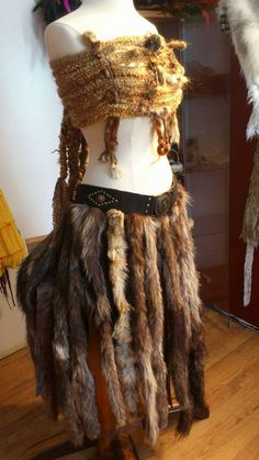 Real Leather Fur Long Skirt Viking Accessories by PrimalForged