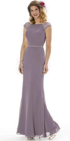 2d32d9c690a15 Fashionable Tulle   Chiffon Bateau Neckline Cap Sleeves Cut-out  Sheath Column Bridesmaid Dresses