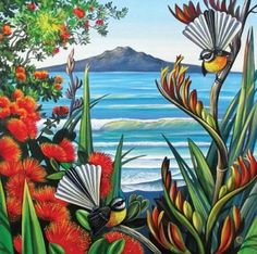 Check out Rangitoto View Canvas Print by Irina Velman at New Zealand Fine Prints New Zealand Tattoo, New Zealand Art, Art Maori, Art Quilling, Nz Art, Kiwiana, Bizarre, Inspiration Art, Bird Art