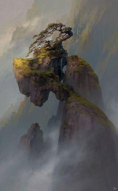 "fantasy-art-engine: ""Qianyuan Mountain by Tianhua Xu "" Landscape Concept, Fantasy Landscape, Landscape Art, Fantasy Concept Art, Fantasy Artwork, Environment Concept, Environment Design, Fantasy Places, Fantasy World"
