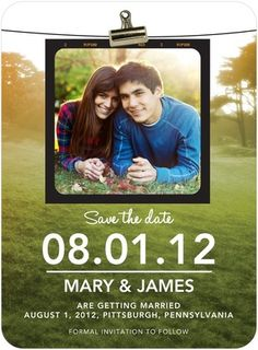 Signature White Photo Save the Date Cards Photoshoot Clipping - Front : Olive