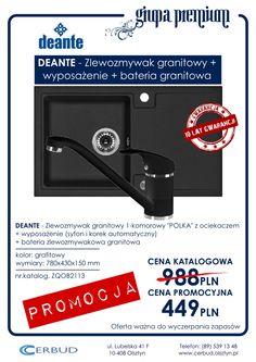 DEANTE - Zlewozmywak granitowy_POLKA_+wyposażenie+bateria_grafitowy