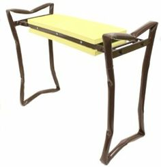 """GARDEN PALS Kneeling Bench / Folding Seat Kneeler - Yellow & Brown by Garden Pals. $23.99. Unfolded Measures: 23.5"""" W x 10.5"""" D x 19"""" H. Double-Sided Cushion. Durable Steel Frame Kneeling Bench. Folds For Compact Storing. 200 Lb Weight Capacity. Great folding garden bench for working from a sitting position or a kneeling position. Comfortable 2-sided pad provides low-impact area. Durable steel frame folds up and down with smooth motion. Stores easily."""