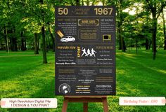 50th birthday poster 1967 Chalkboard Poster 50th birthday