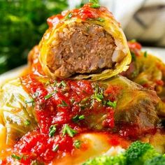Stuffed cabbage rolls filled with beef and rice then topped with homemade tomato sauce. Baked Cabbage, Cabbage Rolls Recipe, Cabbage Recipes, Veggie Recipes, Beef Recipes, Soup Recipes, Dinner Recipes, Cooking Recipes, Healthy Recipes