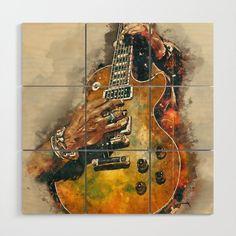 slash's electric guitar, guitar wall art, studio decor, music room decor, gift for guitarists Wood Wall Art by popcultposters Guitar Wall Art, Guitar Painting, Wooden Wall Art, Wood Wall, Wood Square, Cool Artwork, Room Decor, Art Decor, Just For You