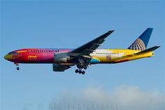 "I miss this plane - Continental Airlines Boeing 777 Peter Max (graphic artist) Cliff's retirement ""ride""......."