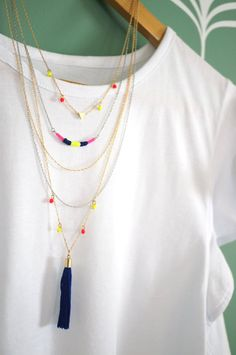 Multi Layer Tassel Chain Necklace in Gold & Silver w/ triangle charm and Neon Pendants