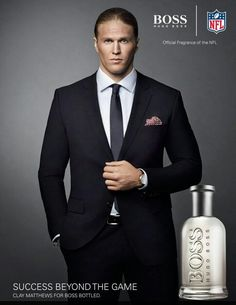 Clay Matthews Hugo Boss ad. Wow someone sure cleans up nice!