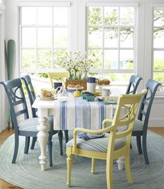 Here's an idea: How about deliberately mismatched seats in your breakfast nook?