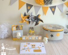 urne livre dor cubes prenom moulin fanion jaune gris theme bapteme hibou Memorial Day Sales, Happy Memorial Day, Decoration Communion, Theme Bapteme, Baptism Cards, Baby Kit, Getting Things Done, Windmill, Own Home