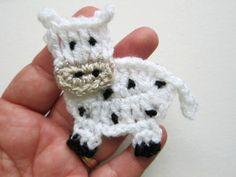 1pc 3 Crochet COW Applique by PinkMeStudio on Etsy