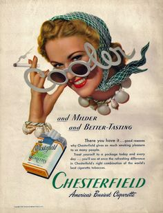 Cooler sunglasses - vintage ad for chesterfield 1940