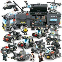 2019 Christmas Kid Gift Complete Swat Command Truck 8 in 1 Building Blocks Set