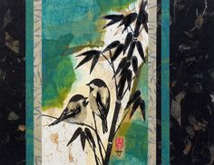 Japanese Bird Abstract Ink Nature Painting, Mixed-Media Contemporary 11x14  Paper Tapestry Collage Art by artist Lynn Gobble by LynnGobbleDesigns on Etsy