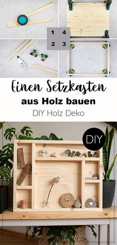 Einen Setzkasten aus Holz selber bauen. DIY Deko aus Holz für persönliche Erinnerungen selber machen. Einen Schaukasten zum Hinstellen und Aufhängen bauen. Selbstgemachte Deko aus Holz. Natürlich wohnen mit Deko aus Holz. Die Anleitung für den Setzkasten gibt es auf meinem DIY Blog wiebkeliebt.de #holzliebe #holzarbeiten #heimwerken #holzdeko #holzdiy #setzkasten