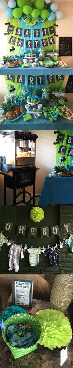 Teal Tiffany Blue Lime Green chalkboard baby shower dessert table - Oh Boy or Little Man theme.