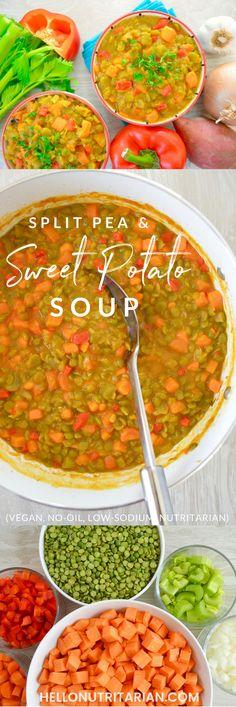 Sweet Potato & Split Pea Vegan Soup Recipe - Whole Food Plant Based