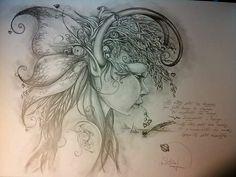 Fairy Drawings, Fantasy Drawings, Dark Art Drawings, Pencil Art Drawings, Doodle Art Drawing, Drawing Quotes, Fantasy Words, Fantasy Art, Daffodil Tattoo