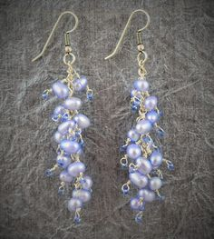 Periwinkle Pearl Cluster Earrings by Gemstonique on Etsy https://www.etsy.com/listing/238005859/periwinkle-pearl-cluster-earrings