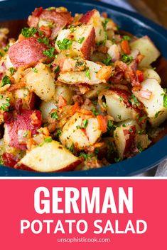 Old-Fashioned Hot German Potato Salad -- this German potato salad recipe makes an ideal summer side dish. Guests will flip for the tangy coarse Dijon apple cider vinegar dressing, along with the crispy fried bacon bits. Serve it hot, warm, or cold at your next cookout! | crock pot german potato salad | authentic german potato salad | easy german potato salad #german #potatosalad #bacon #sidedish #unsophisticook