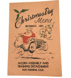 1944 Christmas Day Menu from Port Hueneme Naval by JanvierRoad