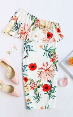 White Botanical Print One Shoulder Ruffle Dress