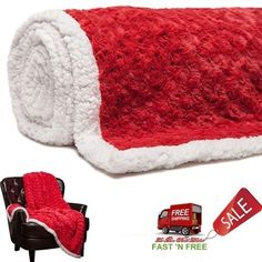 Blanket Sherpa Faux Fur Fleece Throw Warm Soft Rose Flower Sofa Bed Winter Couch #PurchaseCorner