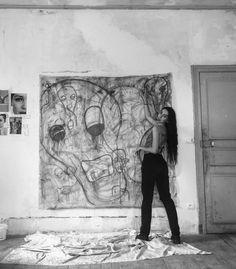 Pastel & paint on canvas