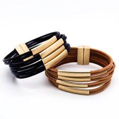 Multi bar leather bracelet – Imsmistyle.