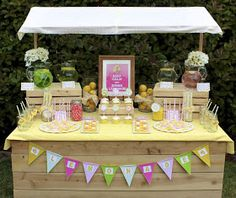 Can this translate into a burlap, crates, pennant, and flowery bake sale table?? La Belle Parties: Lemonade Stand Photo Shoot