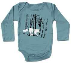 Running FOX / WOLF in the woods, baby Bodysuit, storm blue grey long sleeve, infant sizes, unisex woodland forest tree design by Little lark