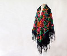 Russian wool shawl black with pink and orange by MulberryWhisper