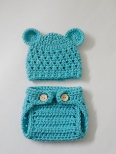 SUPER SALE - Crocheted Newborn Teddy Bear Baby Hat and Diaper Cover in turquoise Blue -  Photo Prop (Available in Different Color). $24.99, via Etsy.