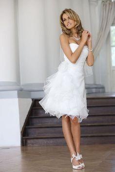 princess white short wedding dress