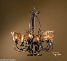 MEXICAN-HACIENDA-REVIVAL-TUSCAN-STYLE-IRON-amp-ART-GLASS-LIGHT-FIXTURE-CHANDELIER