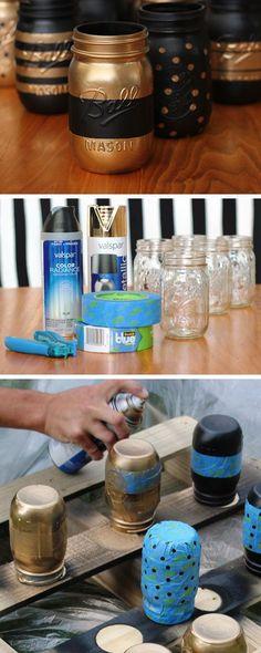 Recipientes pintados de Jarro de Mason modelado |  Clique Pic para 18 DIY maquiagem idéias de armazenamento para quartos pequenos |  Idéias de Organização Fácil para o Lar
