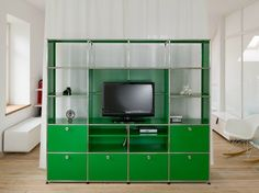 Offenes TV- Regalsystem aus Metall USM HALLER MEDIA SHELVING | TV- Bücherregal - USM Modular Furniture