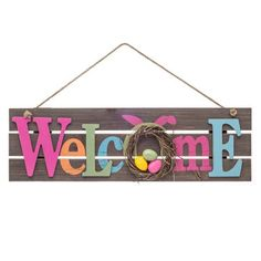 Hang this Welcome plank sign on your front door to warmly greet guests when they arrive for Easter celebrations. It's made of MDF for rustic style, and the brow crafts to sell Welcome Easter Wooden Sign Spring Crafts, Holiday Crafts, Diy Osterschmuck, Easy Diy, Diy Ostern, Easter Colors, Diy Easter Decorations, Easter Celebration, Hoppy Easter