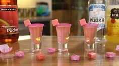 Here's the recipe: PINK STARBURST SHOTS 1 Part Vanilla Vodka 1 Part Watermelon Pucker 1 Part Sweet & Sour Mix Corn Syrup Pink Sugar Pink Starburst PREPARATIO...