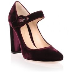 Gianvito Rossi Lorraine Burgundy Velvet Pump (€265) ❤ liked on Polyvore featuring shoes, pumps, heels, red, burgundy heels pumps, red pumps, block-heel mary janes, red mary janes and red velvet pumps
