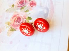 Red Post Earrings Small round red studs Red polymer by HKayDesigns, $12.00
