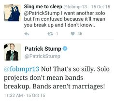 """Bands aren't marriages."""
