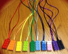 Mixed LOT of 40 LEGO Brick Necklaces with satin cord matching brick Girls Boys Party Favor Birthday Bag Filler Back to School Free Shipping