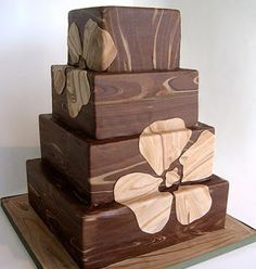 modern wedding cake - i love the woodgrain look!!! <3