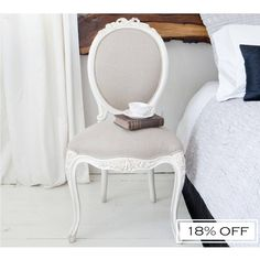 Provencal Taupe Linen Dressing Chair | Bedroom Chair