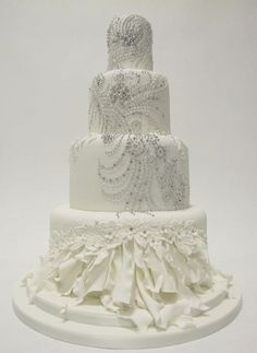 Beautiful Wedding Cake with Sparkling Blinged Diamonds--- Zander informs me this will be his birthday cake.