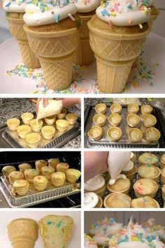 I've made these cupcakes baked inside ice cream cones for years.  What I love here is baking them inside of an inverted roasting pan.  Great way to transport, too!